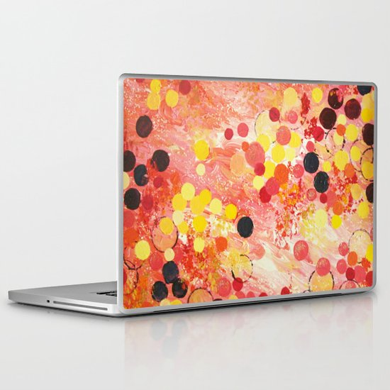 PERSONAL BUBBLE - Hot Pink Bubblegum Pop Fun Whimsical Circles Abstract Acrylic Painting Gift Laptop & iPad Skin