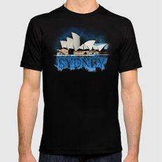 Sydney Opera Watercolor Mens Fitted Tee Black SMALL