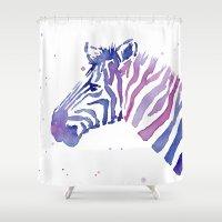 Zebra Watercolor Purple Stripes Shower Curtain