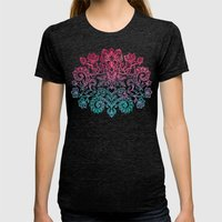 Ombre Canvas Folk Art Doodle in aqua, pink & peach Womens Fitted Tee Tri-Black SMALL