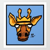 king giraffe Art Print
