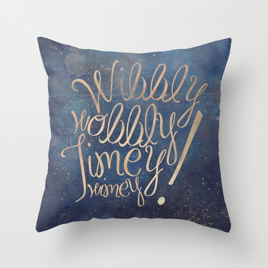 Throw Pillows With Sayings : Wibbly wobbly (Doctor Who quote) Throw Pillow by Marta Lemon Society6