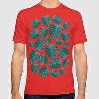 Tropical Leaf Monstera Pattern  Mens Fitted Tee Red SMALL