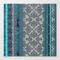 Teal, Aqua & Grey Vintage Bohemian Wallpaper Stripes Canvas Print