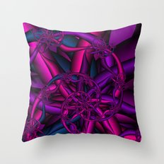 Pink Purple and Blue Throw Pillow