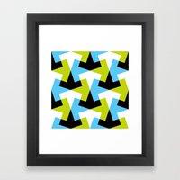 Geometric pattern (green + blue) Framed Art Print