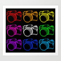 White On Black Camera Art Print