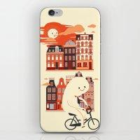 Happy Ghost Biking Throu… iPhone & iPod Skin