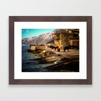 Boat Dock (Arsanas) at St. Anne's Skete, Mount Athos Framed Art Print