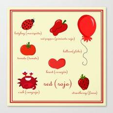 Colors: red (los colores: rojo) Canvas Print