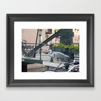 Crane On The Canal Framed Art Print