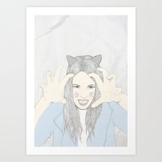 Cat girl Art Print