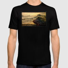 Sunset Wave Mens Fitted Tee Black SMALL