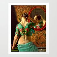 Woman In Front Of A Mirr… Art Print