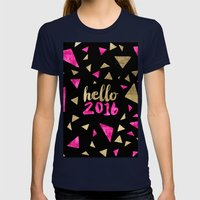 Modern Pink Gold Triangl… Womens Fitted Tee Navy SMALL