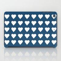64 Hearts Navy iPad Case