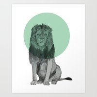Sitting Lion Art Print