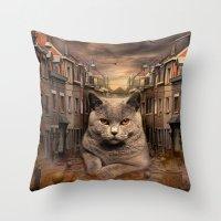 The City Cat Diesel Throw Pillow