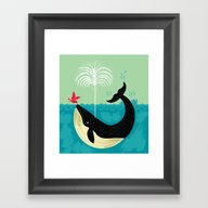Framed Art Print featuring The Bird And The Whale by Oliver Lake