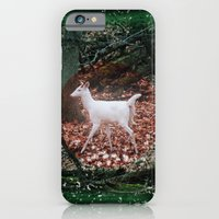 The white Deer Of Winter In Green iPhone 6 Slim Case