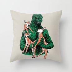 Fawns Meet Kaiju Throw Pillow