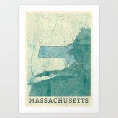 Massachusetts State Map … Art Print