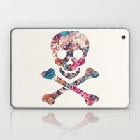 Pink Teal Vintage Floral Pattern Skull Cross Bones Laptop & iPad Skin