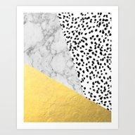 Marble Gold Dots - Moder… Art Print