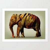 Tiger Elephant Art Print