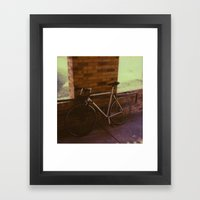 bikes on oak st Framed Art Print