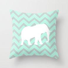Pale Mint Chevron Elephant Pattern Throw Pillow