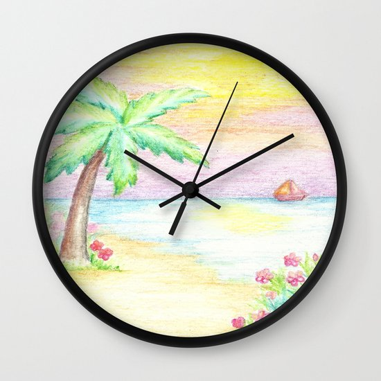 palm tree beach decor whimsical wall clock by josiemaedesign society6. Black Bedroom Furniture Sets. Home Design Ideas