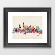 Boston City Watercolor Framed Art Print