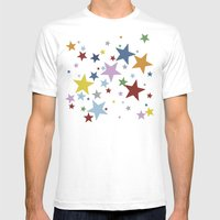 Stars Multi Mens Fitted Tee White SMALL