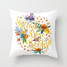 Read More Books - Floral Gold Throw Pillow