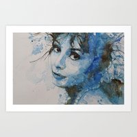 audrey hepburn Art Prints featuring Audrey Hepburn by Paul Lovering Watercolors