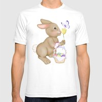 Brown Bunny and Basket Mens Fitted Tee White SMALL