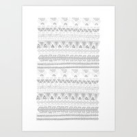 Grey aztec pattern Art Print