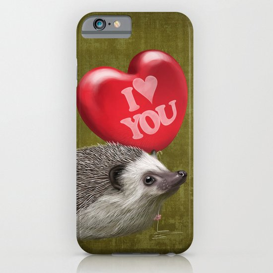 Hedgehog in love with a red balloon iPhone & iPod Case