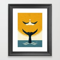 Too big a fish Framed Art Print