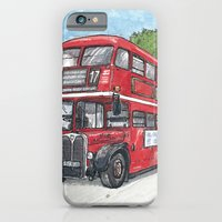iPhone & iPod Case featuring red bus in davis by Pete Scully