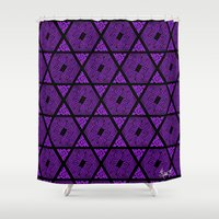 Kagome Greek Fret ... Purple Shower Curtain