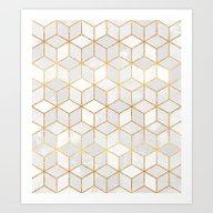 White Cubes Art Print