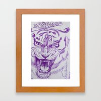 Roaring Purple Tiger Framed Art Print