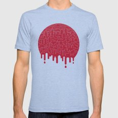Painted Red Mens Fitted Tee Tri-Blue SMALL