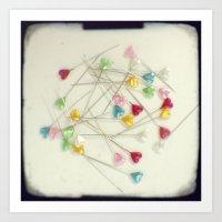 I heart pins Art Print
