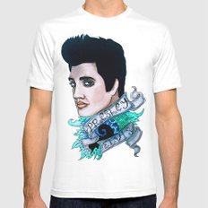 The King of Rock 'n' Roll (Elvis Presley) Mens Fitted Tee White SMALL
