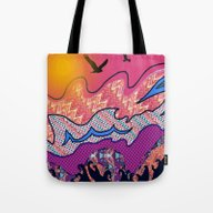 Over The Pink Sea Tote Bag