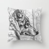 Wolf in woods G082 Throw Pillow