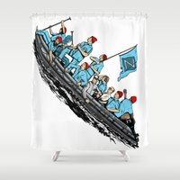 Team Zissou Crossing the Delaware Shower Curtain